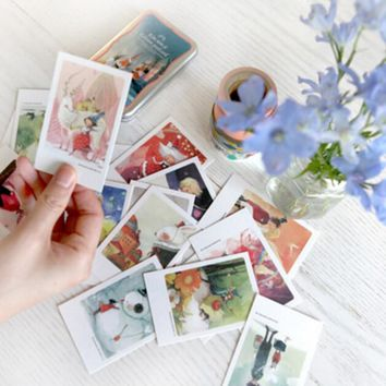 40 pcs/lot Cute Kawaii Paper Postcards Vintage Retro London Paris Alice Italy Greeting Post Cards For Kids Free shipping 367