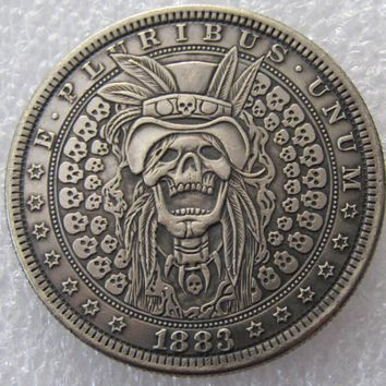 US 1883 Morgan Dollar skull zombie skeleton hand carved Copy Coins High Quality