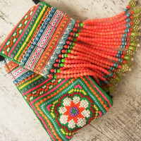 Ethnic fringe case bag for mobile and camera // colorful // flower // hippie // tribal // folk // needlework // coin