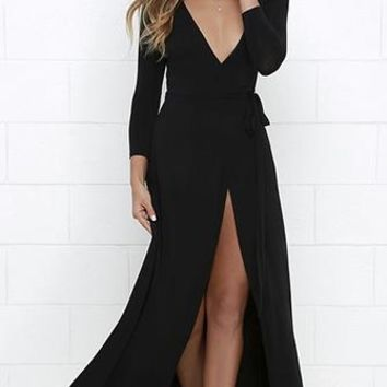 Every Which Way Black Long Sleeve Plunge V Neck Wrap Front Slit Maxi Casual Dress