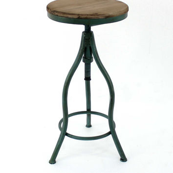 Vintage Bar Stool with Green Metal Frame and Wood Top
