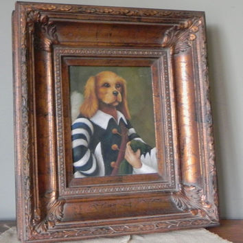 Vintage dog portrait painting in heavy gold frame dog in sailor or pirate costume