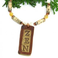 Zen Necklace, Handmade Pendant Palm Wood Mother of Pearl Yoga Jewelry for Women
