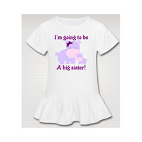 Big Sister Purple Hippos New Baby Sibling Announcement Shirt - SS6020