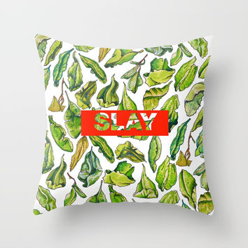 slay tea slay! // watercolor tea leaf pattern with millennial slang Throw Pillow by Camila Quintana S