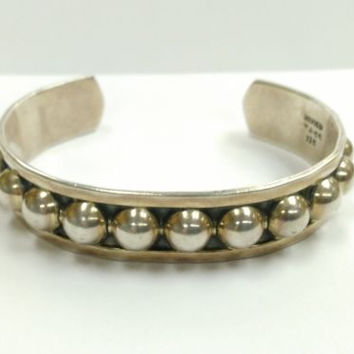 TAXCO MEXICO BRACELET SIGNED TJ-65 STERLING SILVER HUMPS BUMPS ON STERLING 31.6G