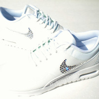 SALE!! - Nike Air Max Thea Shoes - ALL WHITE / Triple White / White - Bedazzled with 100% Authentic Swarovski Crystals