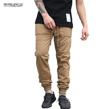 MORUANCLE Fashion Mens Hip Hop Harem Joggers Elastic Waist And Cuff Sweatpants For Male Brand Designer Drawstring Trousers Pants