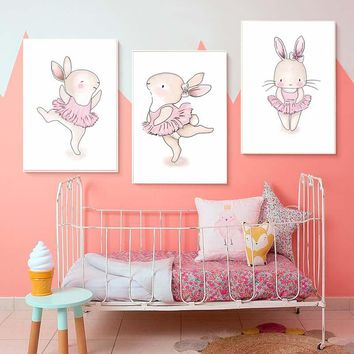 Pink Cute Dancing Rabbits Wall Art Poster For Girls Bedroom Modern Canvas Prints Painting Cartoon Wall Picture For Home Decor