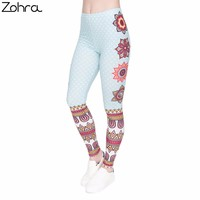 Zohra Women Legging Mandala and White Dots Printing Fashion Bottoms Slim High Waist Leggings Fitness Woman Pants