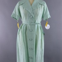 Vintage 1960s Pastel Green Day Dress
