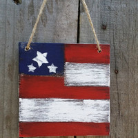 Distressed Rustic Wooden American Flag, 4th of July, Grungy Primitive Wooden Flag , Primitive Wooden Door Hanger, Country Decor, Set of 4