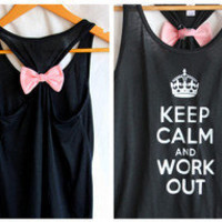 Flowy Black Keep Calm and Work Out  MEDIUM by personTen on Etsy