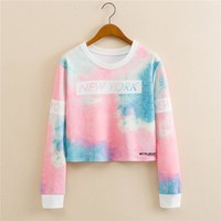 Harajuku Kawaii Clothes Crop Sweatshirt Cropped Hoody Women Pullover Truien Dames Unicorn Licorne Cat Ice Cream Hoodie nwy460