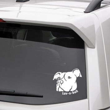 PIT BULL (terrier dog) dog vinyl decal - Luv-a-bull with pitbull face. For car windows, Macbooks, devices, and other services