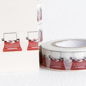 Red and White Old Typewriter Washi Tape, Retro Washi Great for Vintage Wedding or Stocking Stuffer, 15mm x 10m