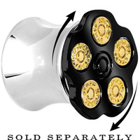 00 Gauge Black Spinning Bullet Chamber Plug | Body Candy Body Jewelry