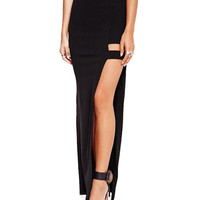 Black Thigh Split High Waist Maxi Skirt