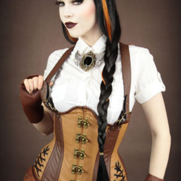 Restyle Steampunk brown Corset Basque underbust Steelboned Corset Faux leather
