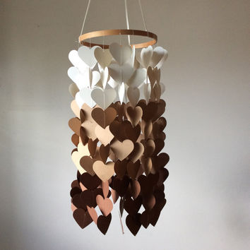 Heart Shaped Paper mobile. Cream and brown Paper Crib Mobile, Baby nursery mobile, modern crib mobile, teen/dorm, wedding décor, baby shower