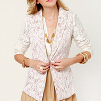 Lace-d to Know White Lace Blazer