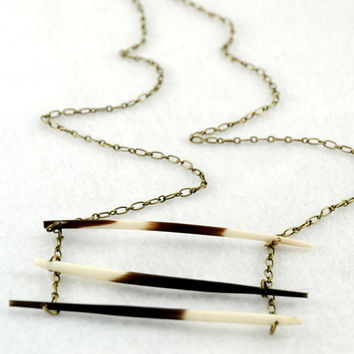 Tripple Porcupine Quill Necklace