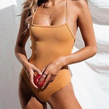 Sexy Summer Beach Back Bandage Women Pure Yellow One Piece Bikini Swimwear Bodysuit