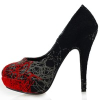 Show Story Womens Red Grey Black Abstract Lines Print Stiletto Platform High Heel Pumps,LF30435RD40,9US,Red
