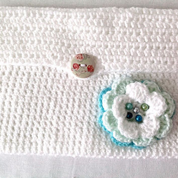 Crocheted white iPad mini case  iPad mini tablet anniversary gift custom made