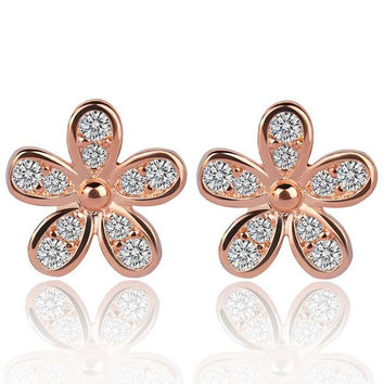 AAA Marquise Cut Cubic Zircon Romantic Lady Earrings Jewelry Cute Flower Shape Women Stud Earrings  +Gift Box