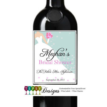 Bridal Shower Wine Bottle Labels Customized Personalized Set of 4