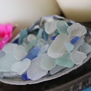 Mermaid Style , Boho Beach Sea glass Clam Shell , Beach House Decor , Coastal Decoration