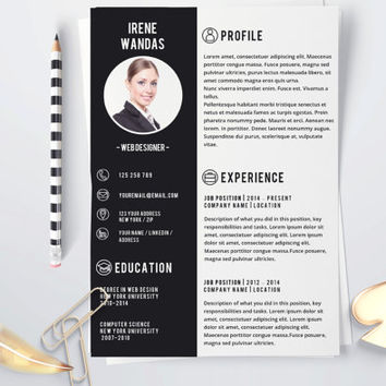Professional résumé. Professional CV. Elegant resume. Elegant Résumé. Black and white résumé. Black and white resume. Curriculum template.