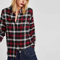 CHECKED SHIRT WITH FAUX PEARLS