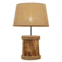 Solid Magogany Base With Manila Rope Lamp