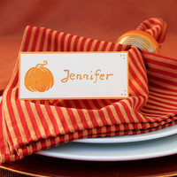 Pumpkin Place Cards, Set of Handmade Name Cards for Thanksgiving, Fall Dinner Table Decoration, Orange Seating Cards, Autumn Tent Cards