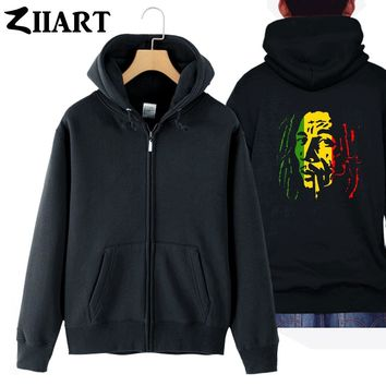 bob marley Smoking cigarette couple clothes boy man male cotton full zip hooded Coats Jackets