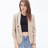 Cream Open Front Curved Hem Blazer Jacket