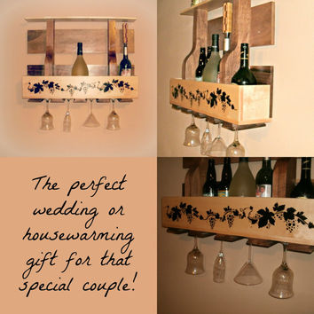 Hardwood Wine Rack - Custom Rustic Shelf - Personalized Image Wine Holder - Hardwood Oversized Wine Glass Holder