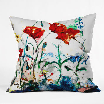 Ginette Fine Art Poppies In Light Outdoor Throw Pillow