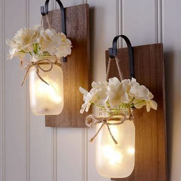 Mason Jar Wall Sconce Fairy Lights Hanging Rustic Country Farmhouse Decor