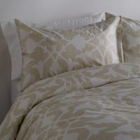 Barbara Barry Poetical Duvet Set - Cream/Tan - Size Queen