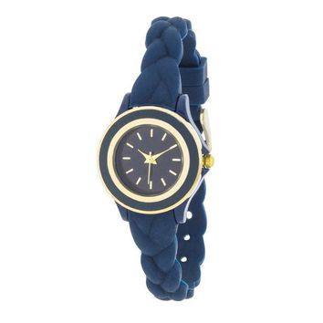 Carmen Braided Watch with Navy Rubber Strap