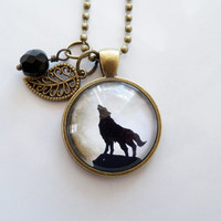 Wolf Moon Necklace - Wolf Howling At The Moon Pendant - Full Moon - Werewolf Jewelry - Nature Lover - Mythology - Nocturnal - Custom