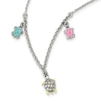 925 Sterling Silver Enamel Cubic Zirconia Turtle Childs Necklace