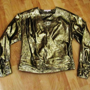 stunning sexy gold metallic disco made in France batwing blouse.
