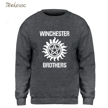 Supernatural Hoodie Men Winchester Brother Sweatshirt Sweatshirts 2018 Winter Autumn Fleece Warm