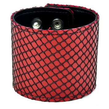 "Red & Black Fishnet Leather Wristband Cuff Bracelet 2-1/2"" Wide"