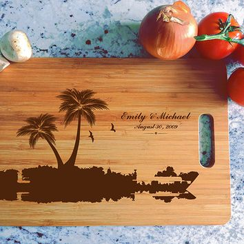 ikb614 Personalized Cutting Board Costa Rica beaches wooden wedding gift wedding