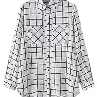 White Plaid Pocket Pointed Flat Collar Long Sleeve Blouse